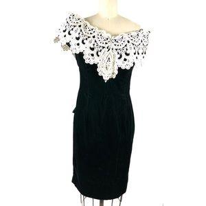 Vtg 80s Scott McClintock Green Velvet Dress 6